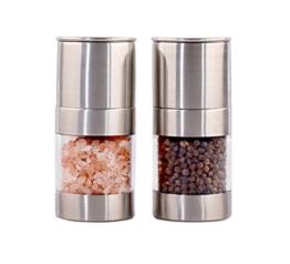 Fitsund Gewürzmühle 2er Set mit Verstellbarem Acrylglas Keramikmahlwerk verstellbar Edelstahl Salzmühle und Pfeffermühle Mini Gewürzmühle - 1