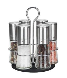Pfeffer- und Salzmühle 6er Set mit drehbarem Ständer - Echtglas - Keramikmahlwerk - Edelstahl Salz Pfeffer Mühle Salzmühle Pfeffermühle Chilimühle - Gastro Set - ohne Gewürzinhalt - 80ml Edelstahl - 1