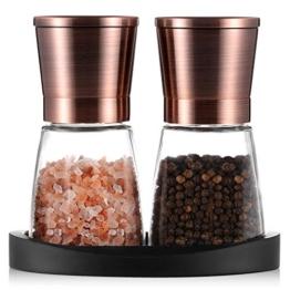 Tiawudi Pfeffermühlen, Salz- und Pfeffermühle mit Silikonständer (2 Stück) Kupferfarbener Edelstahl, Salz- und Pfeffer-Mahlanlagen mit Leicht Einstellbarer Keramischer Rauheit, Glaskörper - 1