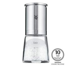 WMF De Luxe Salzmühle befüllt, Cromargan Edelstahl Glas, Keramikmahlwerk, spülmaschinengeeignet Gewürzmühle, für getrockente Kräuter - 1